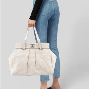 Chanel Ivory Quilted Leather CC Twist Lock Tote